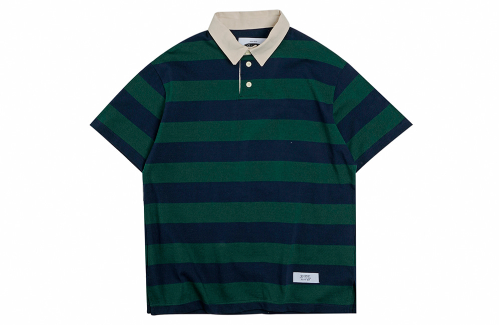 Opening Hour Stripe Rugby Collar-Tee (green)