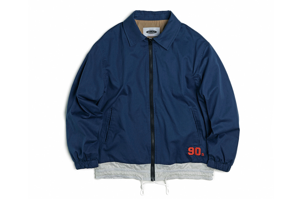 90's Draw-String Coach Jacket (navy)