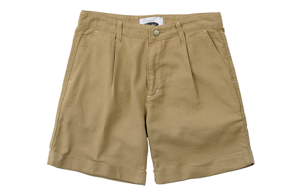 Jungle Cotton One-tuck Shorts (beige)