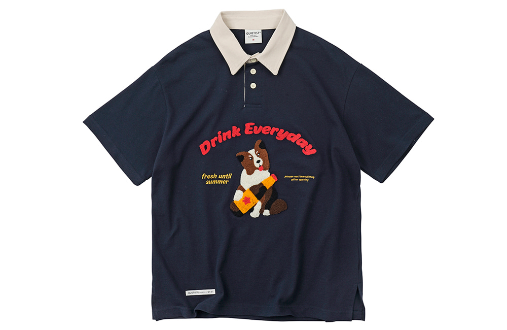 20's Border Collie Rugby Collar-Tee (navy)